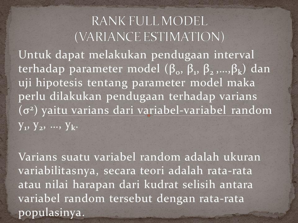 Untuk dapat melakukan pendugaan interval terhadap parameter model (β 0, β 1, β 2,…,β k ) dan uji hipotesis tentang parameter model maka perlu dilakukan pendugaan terhadap varians (σ 2 ) yaitu varians dari variabel-variabel random y 1, y 2, …, y k.