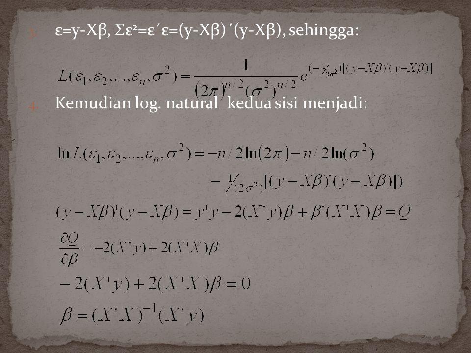 3. ε=y-Xβ, Σε 2 =ε΄ε=(y-Xβ)΄(y-Xβ), sehingga: 4. Kemudian log. natural kedua sisi menjadi: