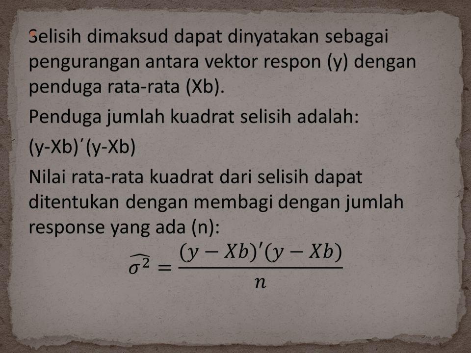 Pembilang pada rumus di atas atau (y- Xb)΄(y-Xb) dikenal dengan penduga jumlah kuadrat residu (error).