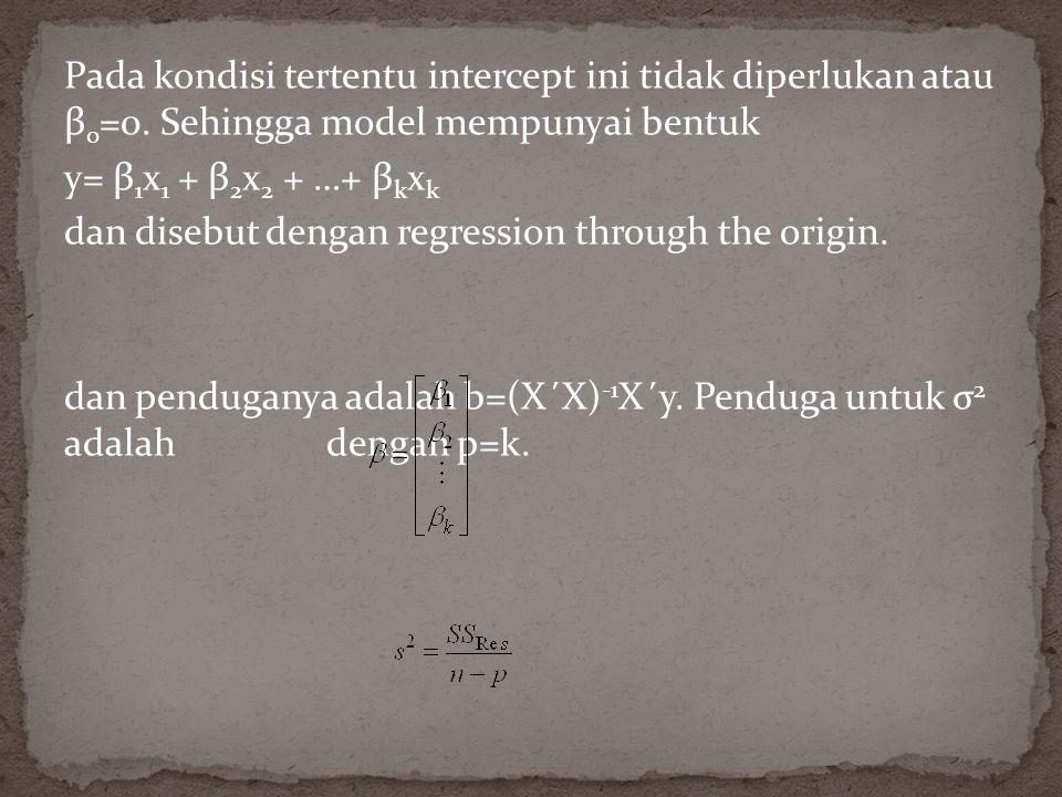 Pada kondisi tertentu intercept ini tidak diperlukan atau β 0 =0.
