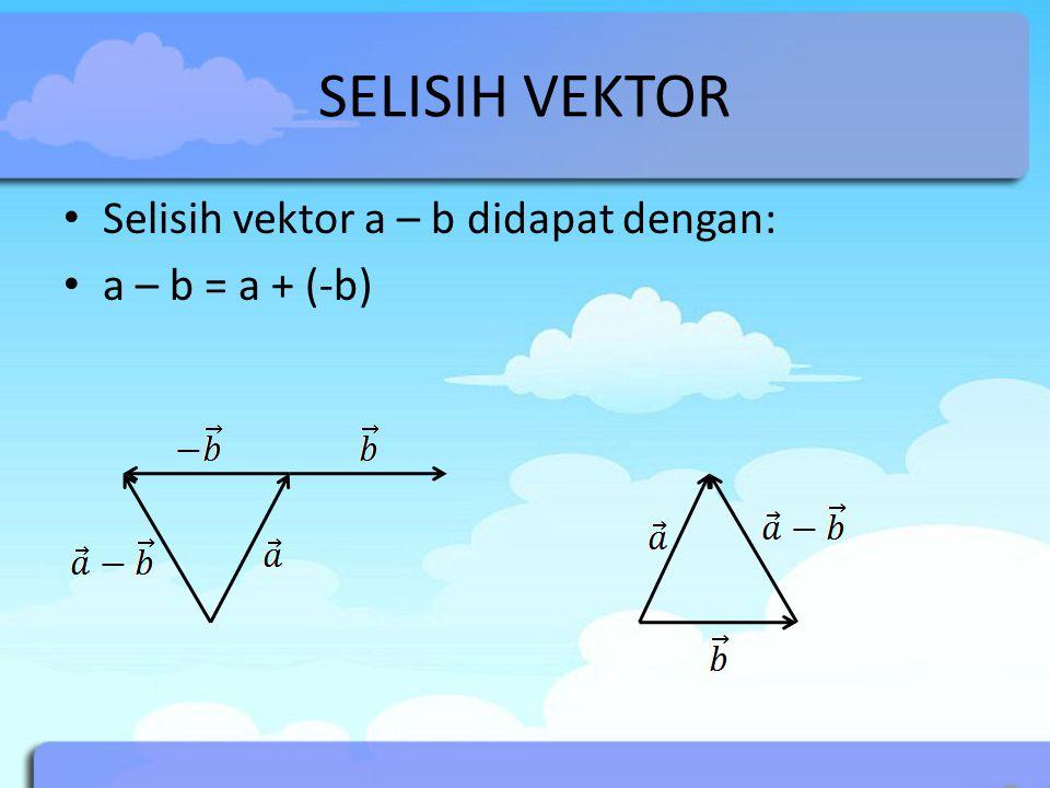 SELISIH VEKTOR Selisih vektor a – b didapat dengan: a – b = a + (-b)