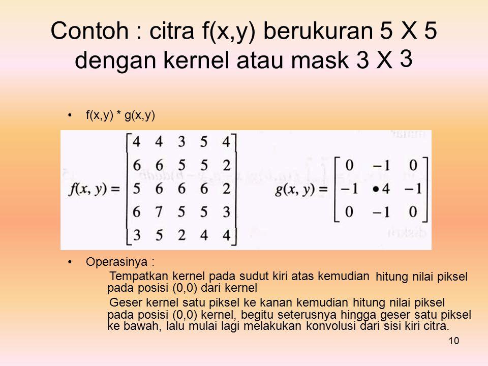 Contoh : citra f(x,y) berukuran 5X3X3 5 dengankernelataumask3X f(x,y)*g(x,y) Operasinya : Tempatkan kernel pada sudut kiri atas kemudian pada posisi (0,0) dari kernel hitung nilai piksel Geser kernel satu piksel ke kanan kemudian hitung nilai piksel pada posisi (0,0) kernel, begitu seterusnya hingga geser satu piksel ke bawah, lalu mulai lagi melakukan konvolusi dari sisi kiri citra.