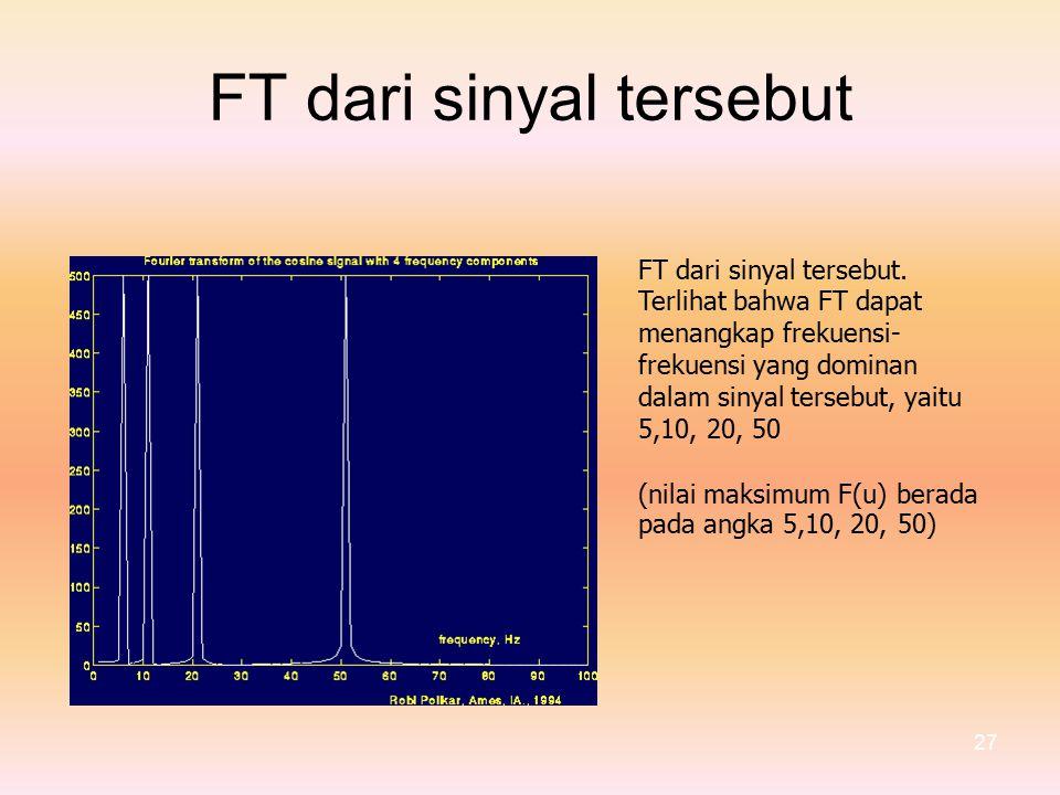 FTdarisinyaltersebut FT dari sinyal tersebut.