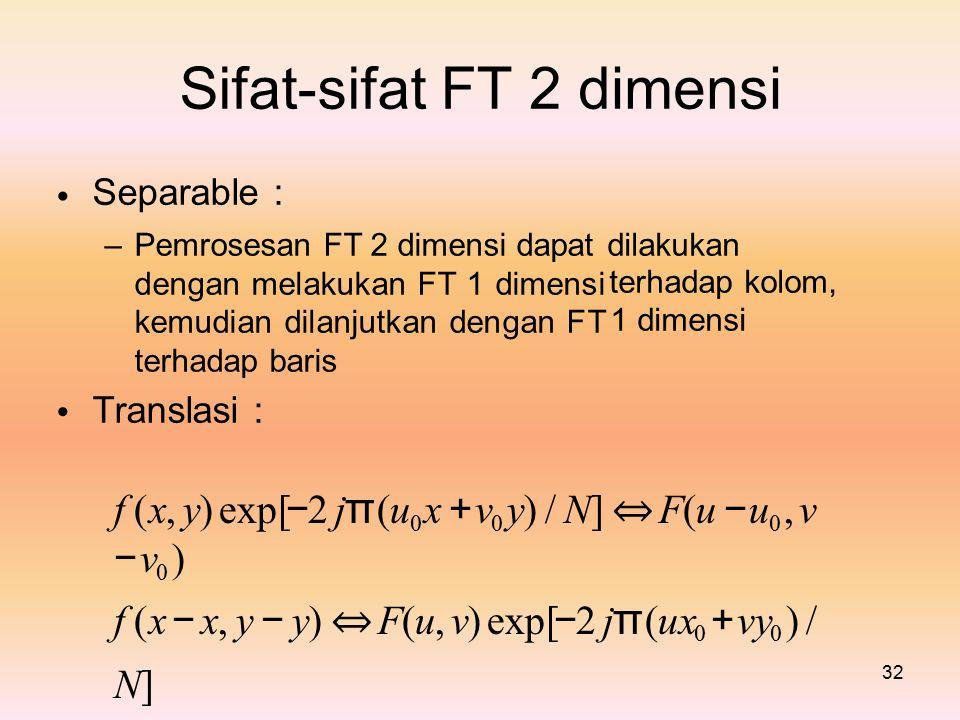 Sifat-sifat Separable : FT2dimensi – Pemrosesan FT 2 dimensi dapat dengan melakukan FT 1 dimensi kemudian dilanjutkan dengan FT terhadap baris Translasi : dilakukan terhadap kolom, 1 dimensi f (x, y) exp[ − 2 j π (u 0 x + v 0 y) / N] ⇔ F(u − u 0, v − v 0 ) f (x − x, y − y) ⇔ F(u, v) exp[ − 2 j π (ux 0 + vy 0 ) / N] 32