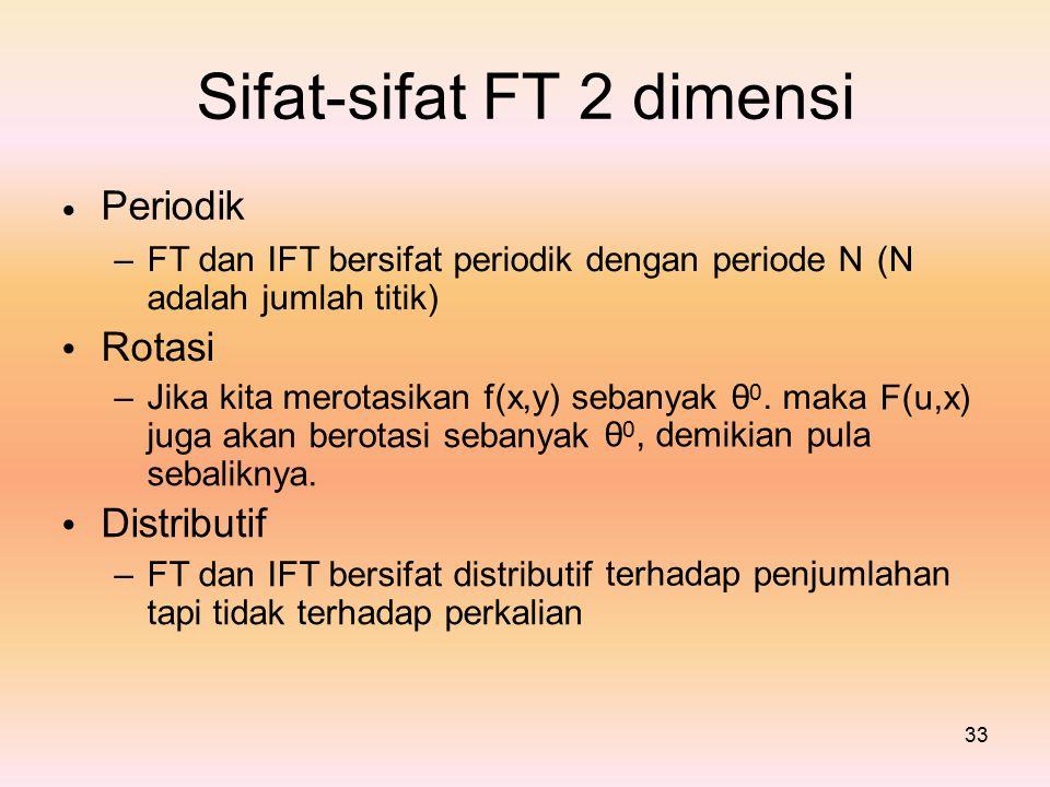 Sifat-sifat Periodik FT2dimensi – FT dan IFT bersifat periodik dengan periode N adalah jumlah titik) Rotasi – Jika kita merotasikan f(x,y) sebanyak θ 0.