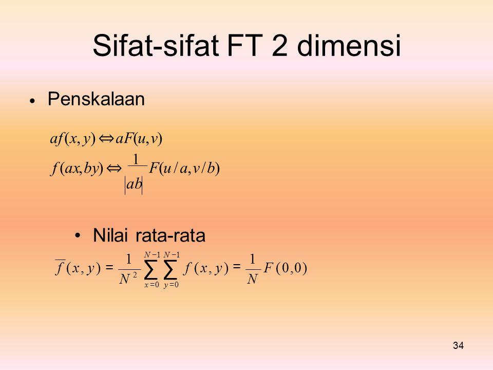 Sifat-sifat Penskalaan FT2dimensi af (x, y) ⇔ aF(u, v) f (ax,by) ⇔ 1 F(u / a, v / b) ab Nilai rata-rata N − 1 ∑ x = 0 y = 0 11 y ) =y ) = = f ( x,f ( x,f ( x,f ( x,y )y )F ( 0,0 )F ( 0,0 ) 2 NN 34