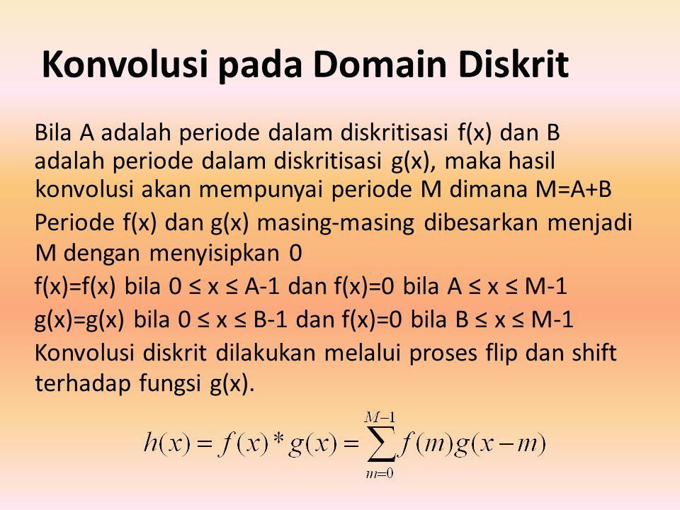 Konvolusi pada Domain Diskrit Bila A adalah periode dalam diskritisasi f(x) dan B adalah periode dalam diskritisasi g(x), maka hasil konvolusi akan mempunyai periode M dimana M=A+B Periode f(x) dan g(x) masing-masing dibesarkan menjadi M dengan menyisipkan 0 f(x)=f(x) bila 0 ≤ x ≤ A-1 dan f(x)=0 bila A ≤ x ≤ M-1 g(x)=g(x) bila 0 ≤ x ≤ B-1 dan f(x)=0 bila B ≤ x ≤ M-1 Konvolusi diskrit dilakukan melalui proses flip dan shift terhadap fungsi g(x).