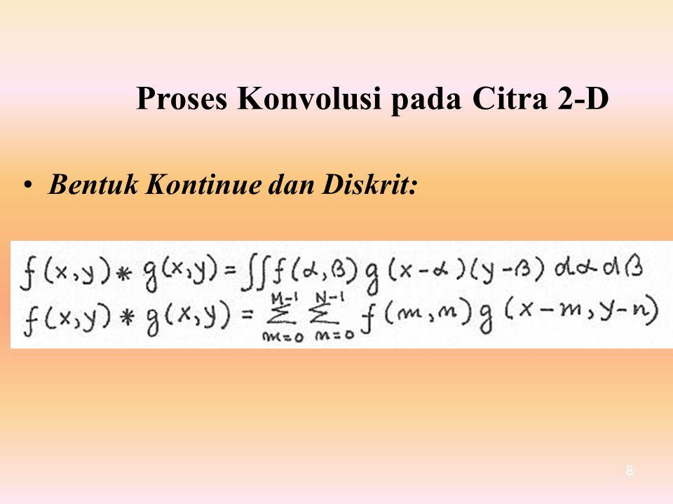 Proses Konvolusi padaCitra2-D BentukKontinuedanDiskrit: 8