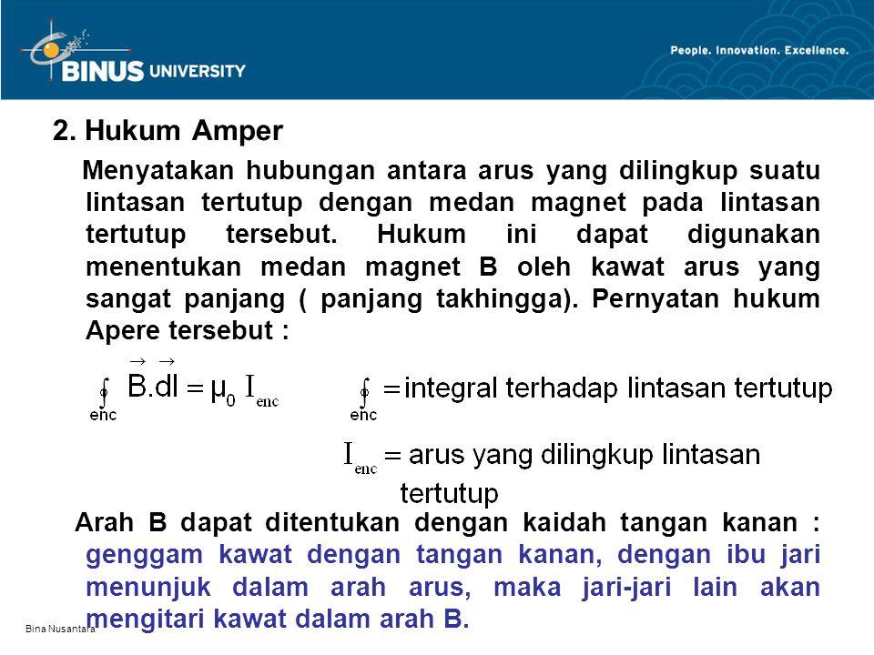 Bina Nusantara 2. Hukum Amper Menyatakan hubungan antara arus yang dilingkup suatu lintasan tertutup dengan medan magnet pada lintasan tertutup terseb