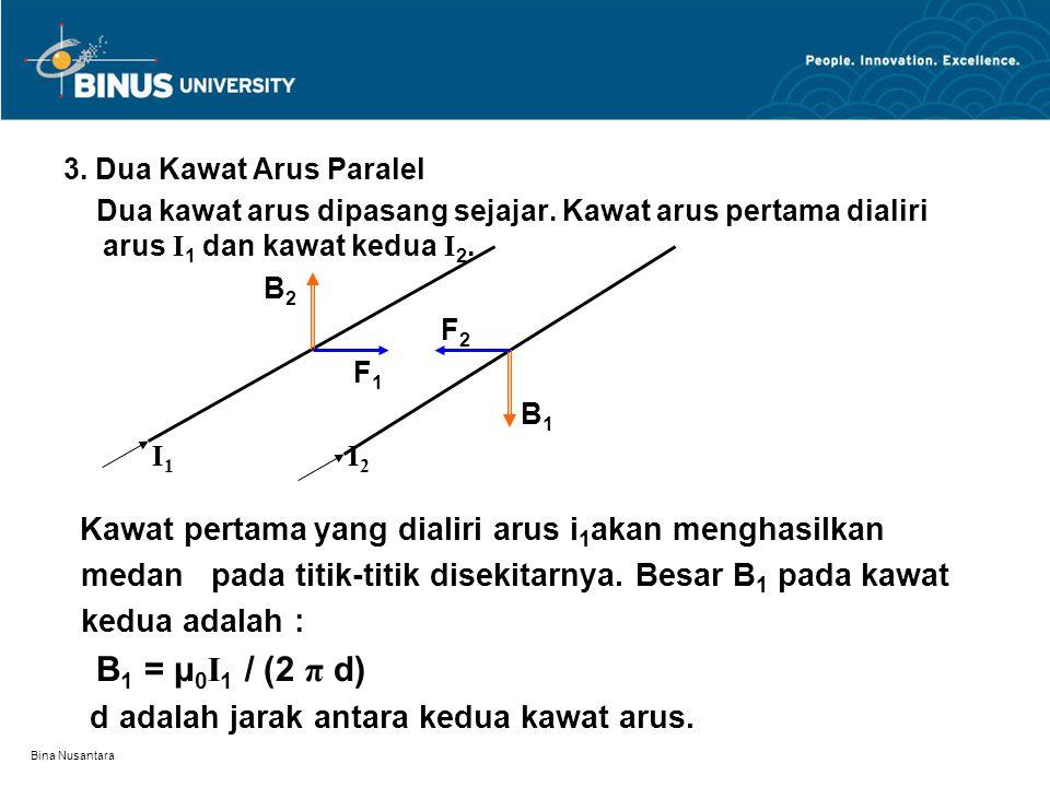 Bina Nusantara 3. Dua Kawat Arus Paralel Dua kawat arus dipasang sejajar. Kawat arus pertama dialiri arus I 1 dan kawat kedua I 2. B 2 F 2 F 1 B 1 I 1