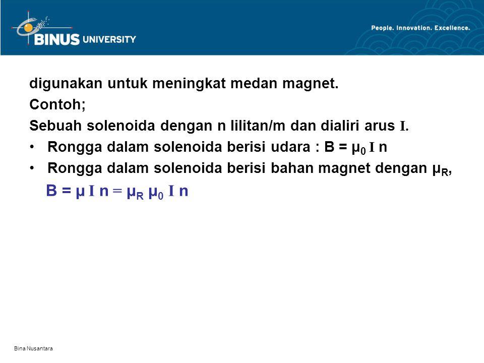 Bina Nusantara digunakan untuk meningkat medan magnet. Contoh; Sebuah solenoida dengan n lilitan/m dan dialiri arus I. Rongga dalam solenoida berisi u
