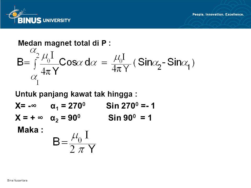Bina Nusantara Medan magnet total di P : Untuk panjang kawat tak hingga : X= -∞ α 1 = 270 0 Sin 270 0 =- 1 X = + ∞ α 2 = 90 0 Sin 90 0 = 1 Maka :