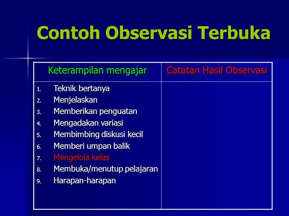 Contoh Observasi Terbuka Keterampilan mengajar Catatan Hasil Observasi 1. Teknik bertanya 2. Menjelaskan 3. Memberikan penguatan 4. Mengadakan variasi