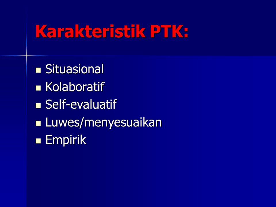 Karakteristik PTK: Situasional Situasional Kolaboratif Kolaboratif Self-evaluatif Self-evaluatif Luwes/menyesuaikan Luwes/menyesuaikan Empirik Empirik