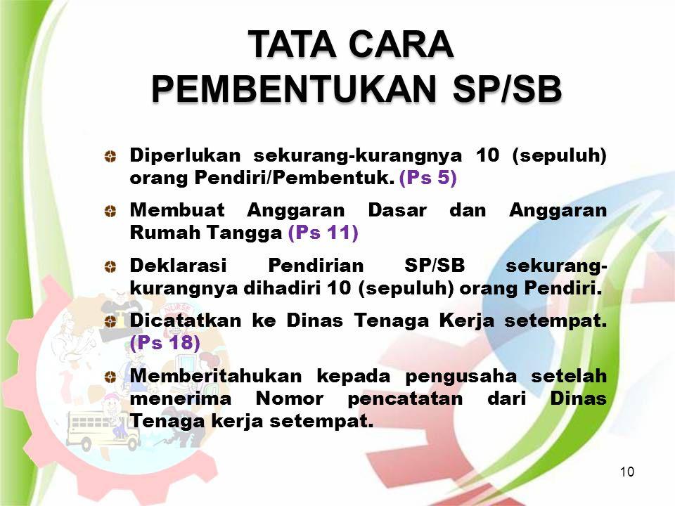 10 TATA CARA PEMBENTUKAN SP/SB TATA CARA PEMBENTUKAN SP/SB Diperlukan sekurang-kurangnya 10 (sepuluh) orang Pendiri/Pembentuk. (Ps 5) Membuat Anggaran