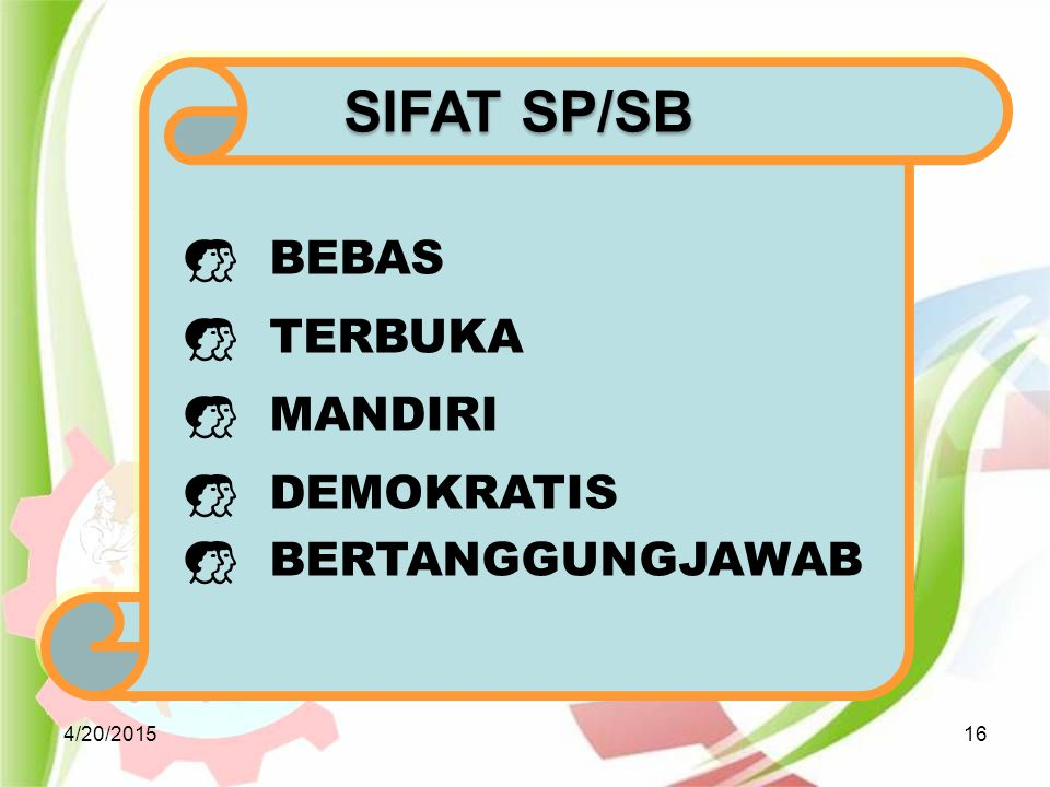 4/20/201516  BEBAS  TERBUKA  MANDIRI  DEMOKRATIS  BERTANGGUNGJAWAB SIFAT SP/SB