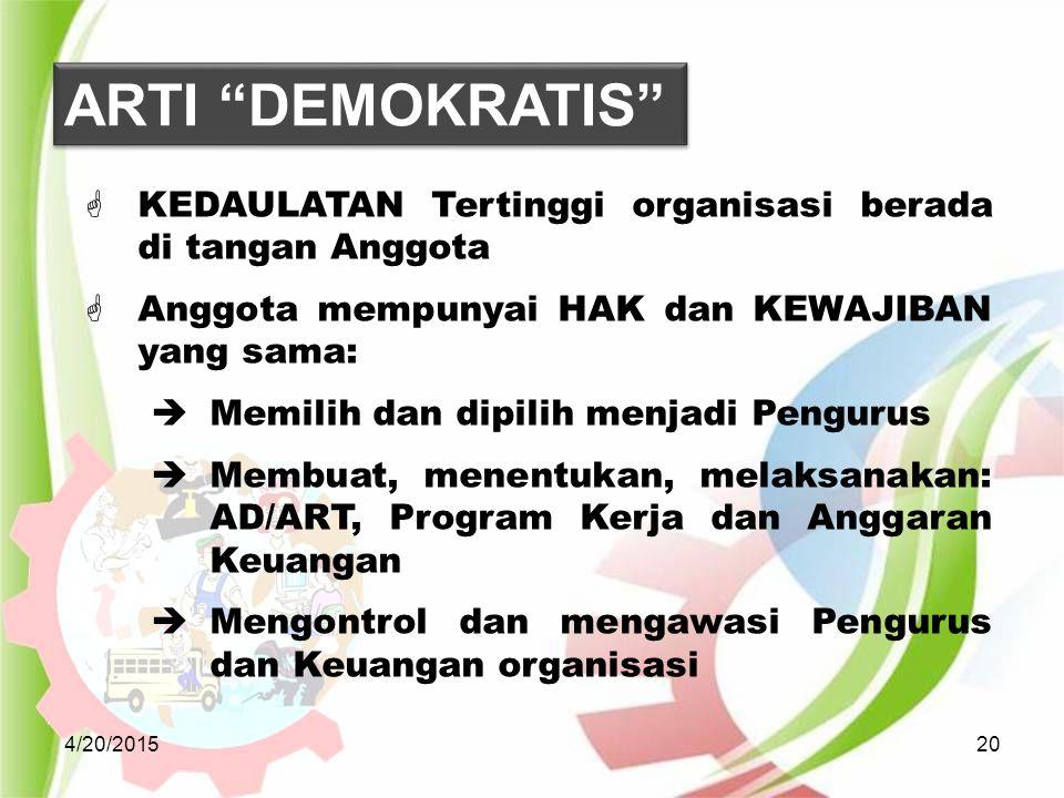 4/20/201520  KEDAULATAN Tertinggi organisasi berada di tangan Anggota  Anggota mempunyai HAK dan KEWAJIBAN yang sama:  Memilih dan dipilih menjadi