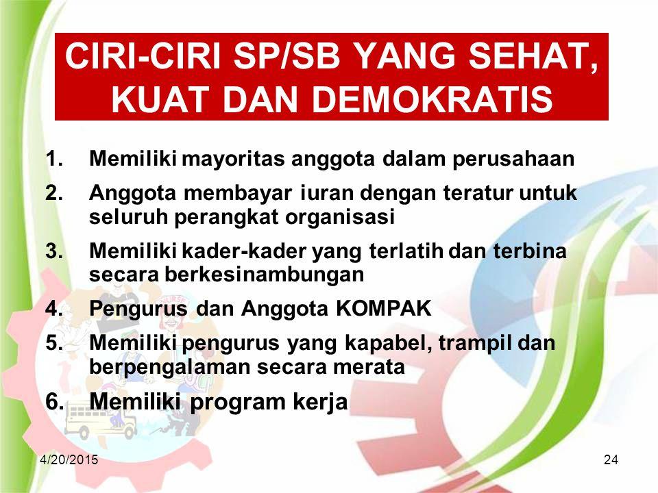 4/20/201524 CIRI-CIRI SP/SB YANG SEHAT, KUAT DAN DEMOKRATIS 1.Memiliki mayoritas anggota dalam perusahaan 2.Anggota membayar iuran dengan teratur untu