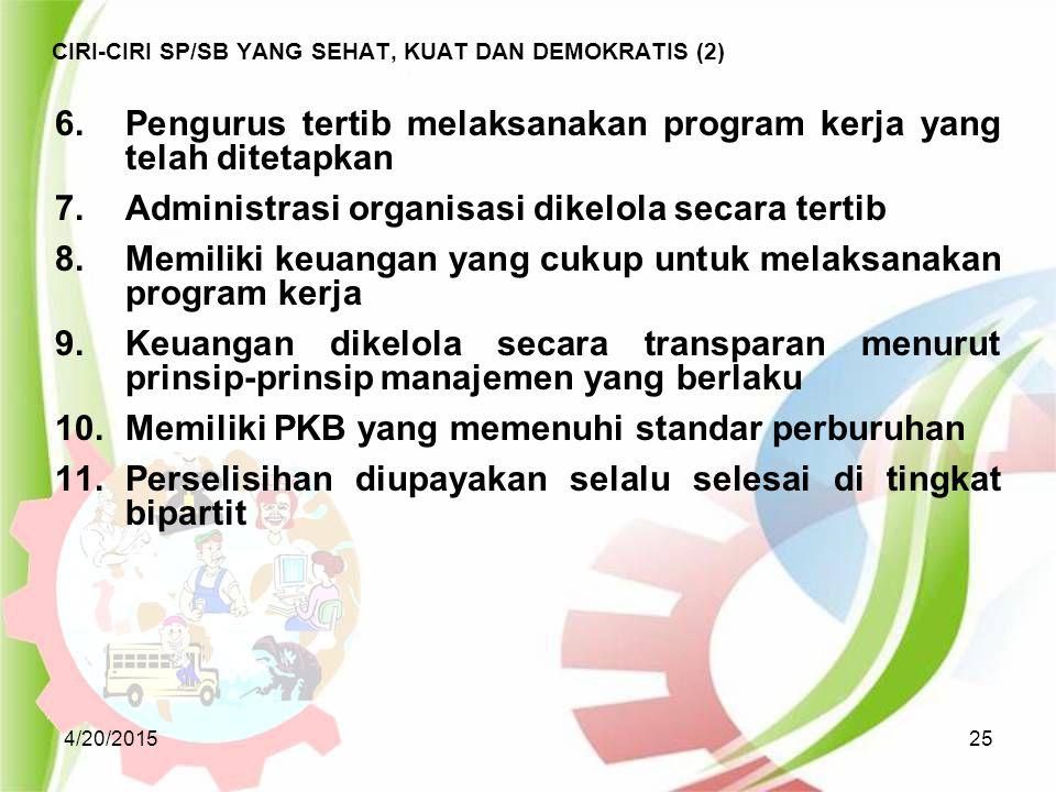 4/20/201525 CIRI-CIRI SP/SB YANG SEHAT, KUAT DAN DEMOKRATIS (2) 6.Pengurus tertib melaksanakan program kerja yang telah ditetapkan 7.Administrasi orga
