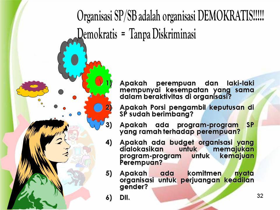 4/20/2015324/20/201532 1)Apakah perempuan dan laki-laki mempunyai kesempatan yang sama dalam beraktivitas di organisasi? 2)Apakah Porsi pengambil kepu