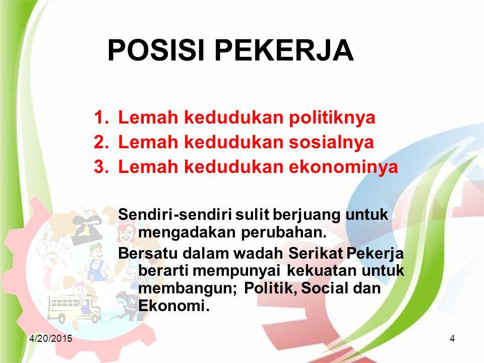 4/20/201515 Bersama pengusaha membuat PKB (Perjanjian Kerja Sama) Menyelesaikan perselisihan hubungan industrial Duduk dalam LKS Bipartit dan Tripartit Bersama pengusaha menciptakan hubungan industrial yang harmonis, dinamis, dan berkeadilan di tempat kerja.