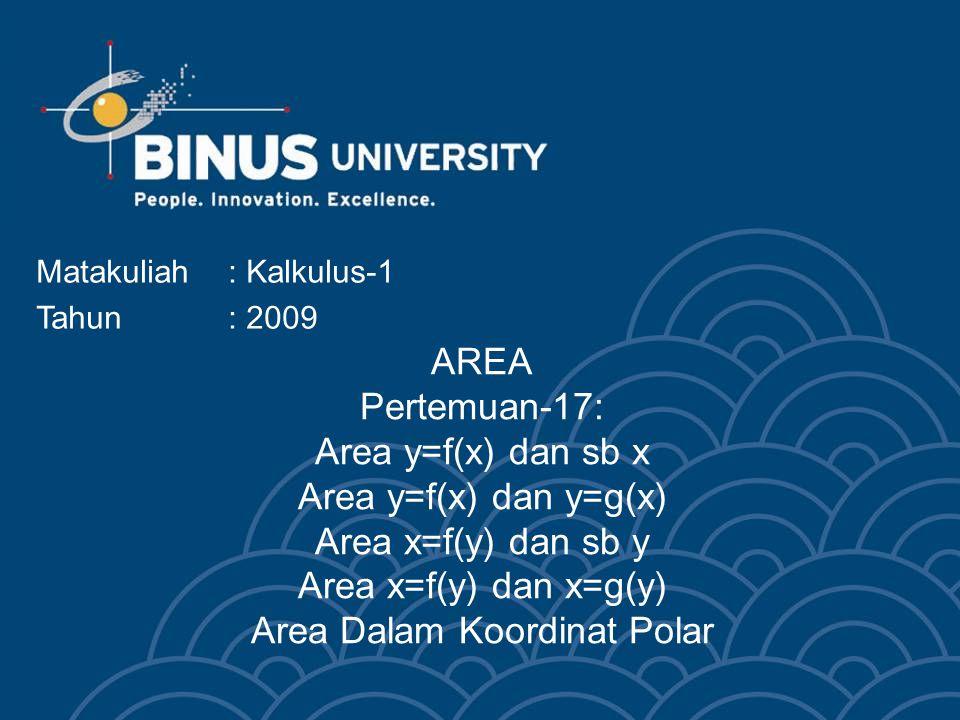 Bina Nusantara University 3 AREA y=f(x) dan sumbu x