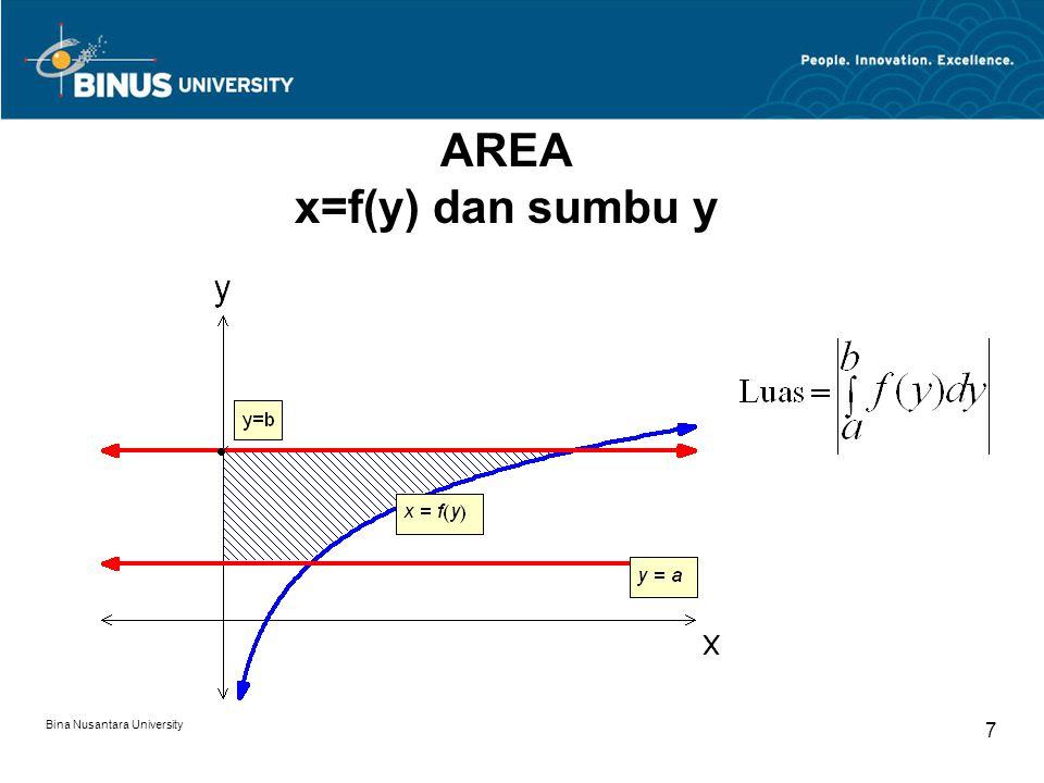 Bina Nusantara University 8 Contoh: Carilah luas daerah yang dibatasi oleh: 1.x=y 2, y= –2, y=1, dan sumbu y 2.x=y 3, y= -1, y=1 dan sumbu y 3.x=y 2 -6y+8, y=5, y=0 dan sumbu y