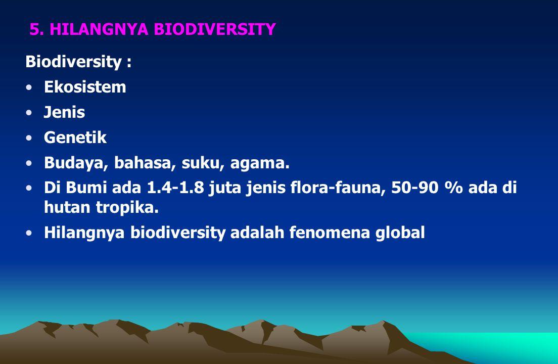 Biodiversity : Ekosistem Jenis Genetik Budaya, bahasa, suku, agama.