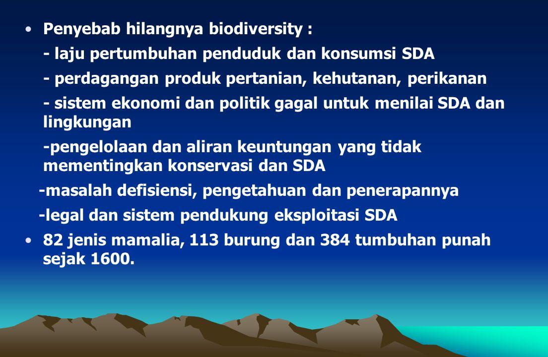 Penyebab hilangnya biodiversity : - laju pertumbuhan penduduk dan konsumsi SDA - perdagangan produk pertanian, kehutanan, perikanan - sistem ekonomi dan politik gagal untuk menilai SDA dan lingkungan -pengelolaan dan aliran keuntungan yang tidak mementingkan konservasi dan SDA -masalah defisiensi, pengetahuan dan penerapannya -legal dan sistem pendukung eksploitasi SDA 82 jenis mamalia, 113 burung dan 384 tumbuhan punah sejak 1600.