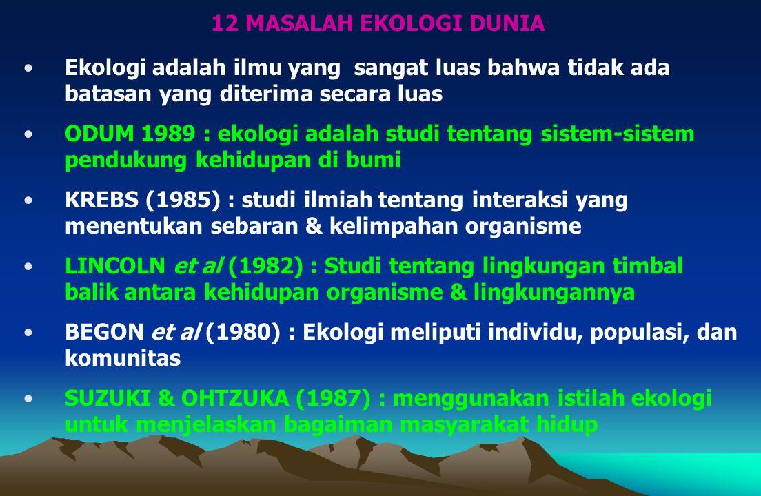 Ekologi adalah ilmu yang sangat luas bahwa tidak ada batasan yang diterima secara luas ODUM 1989 : ekologi adalah studi tentang sistem-sistem pendukung kehidupan di bumi KREBS (1985) : studi ilmiah tentang interaksi yang menentukan sebaran & kelimpahan organisme LINCOLN et al (1982) : Studi tentang lingkungan timbal balik antara kehidupan organisme & lingkungannya BEGON et al (1980) : Ekologi meliputi individu, populasi, dan komunitas SUZUKI & OHTZUKA (1987) : menggunakan istilah ekologi untuk menjelaskan bagaiman masyarakat hidup 12 MASALAH EKOLOGI DUNIA