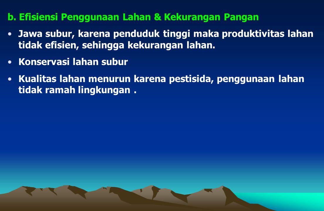 b. Efisiensi Penggunaan Lahan & Kekurangan Pangan Jawa subur, karena penduduk tinggi maka produktivitas lahan tidak efisien, sehingga kekurangan lahan