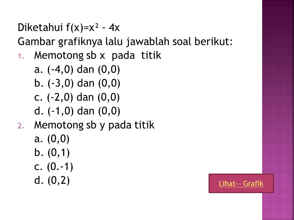 5 4 3 2 1 0 1 2 3 4 5 6 7 8 9 10 11 12 1 2 3 4 5 6 7 8 -Memotong sb x pada titik (2,0) dan (6,0) -Memotong sb y pada titik (0,-12) -Memiliki sb simetr