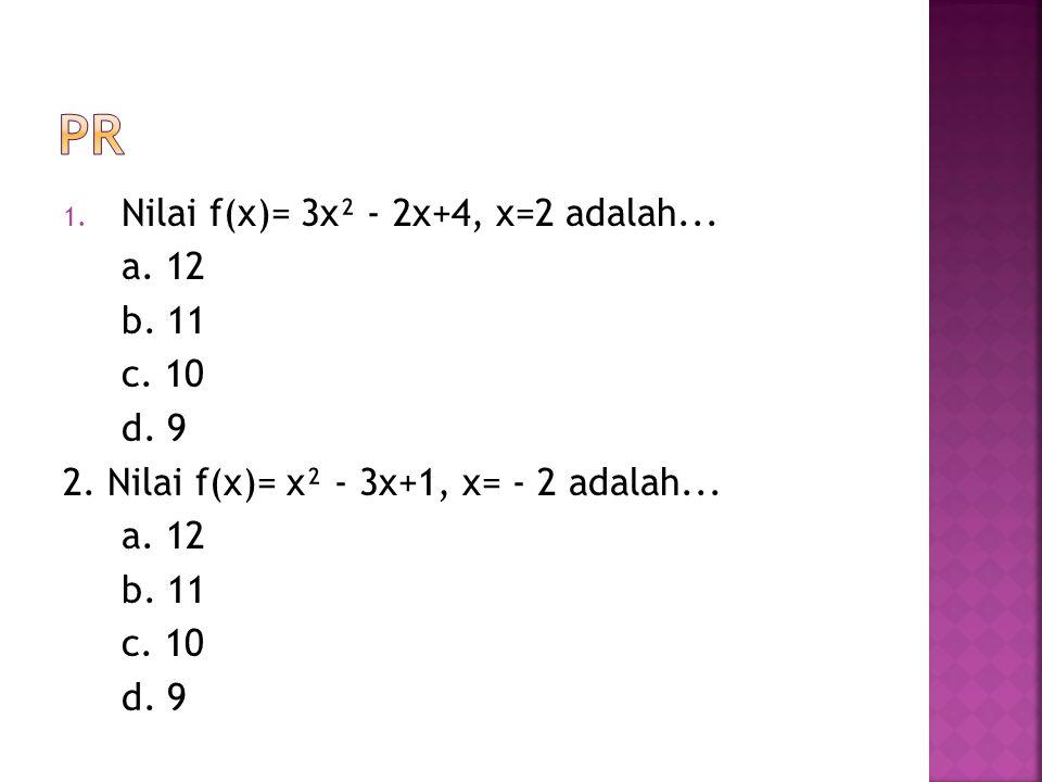 3. Memiliki sb simetri pada a. x=1 b. x=2 c. x=3 d. x=4 4. Memiliki titik balik minimum a. (2,-4) b. (2,-6) c. (1,-4) d. (1,-6)