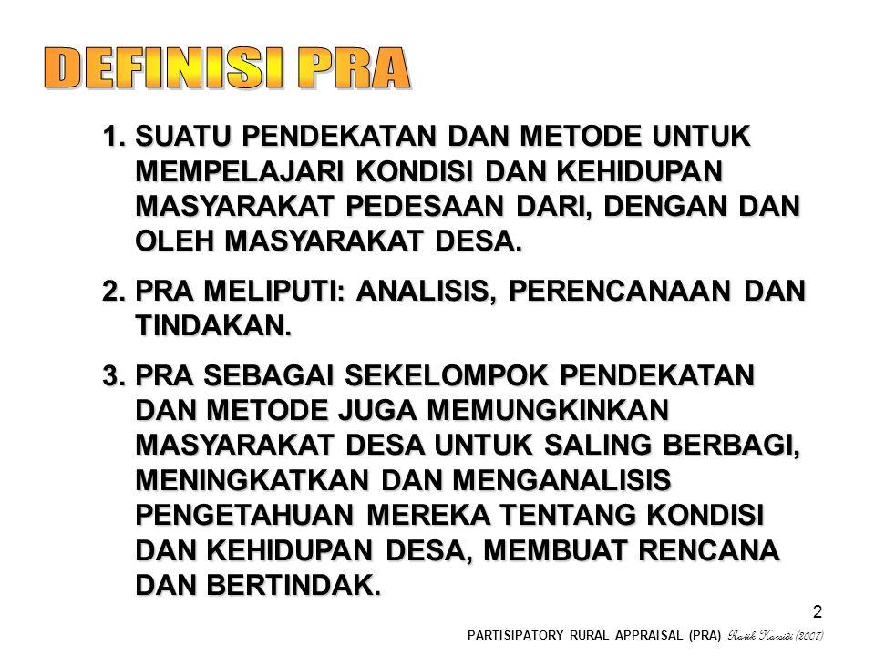 PARTISIPATORY RURAL APPRAISAL (PRA) Ravik Karsidi (2007) 3 1.KETIDAKPUASAN ADANYA BIAS (Bias anti kemiskinan: keuangan, personal, musim) dan diplomatik).