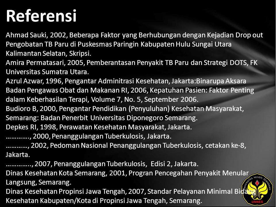 Referensi Ahmad Sauki, 2002, Beberapa Faktor yang Berhubungan dengan Kejadian Drop out Pengobatan TB Paru di Puskesmas Paringin Kabupaten Hulu Sungai Utara Kalimantan Selatan, Skripsi.
