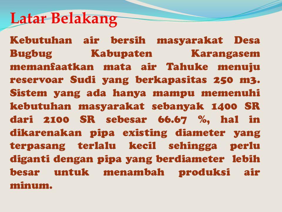 Latar Belakang Kebutuhan air bersih masyarakat Desa Bugbug Kabupaten Karangasem memanfaatkan mata air Tahuke menuju reservoar Sudi yang berkapasitas 2