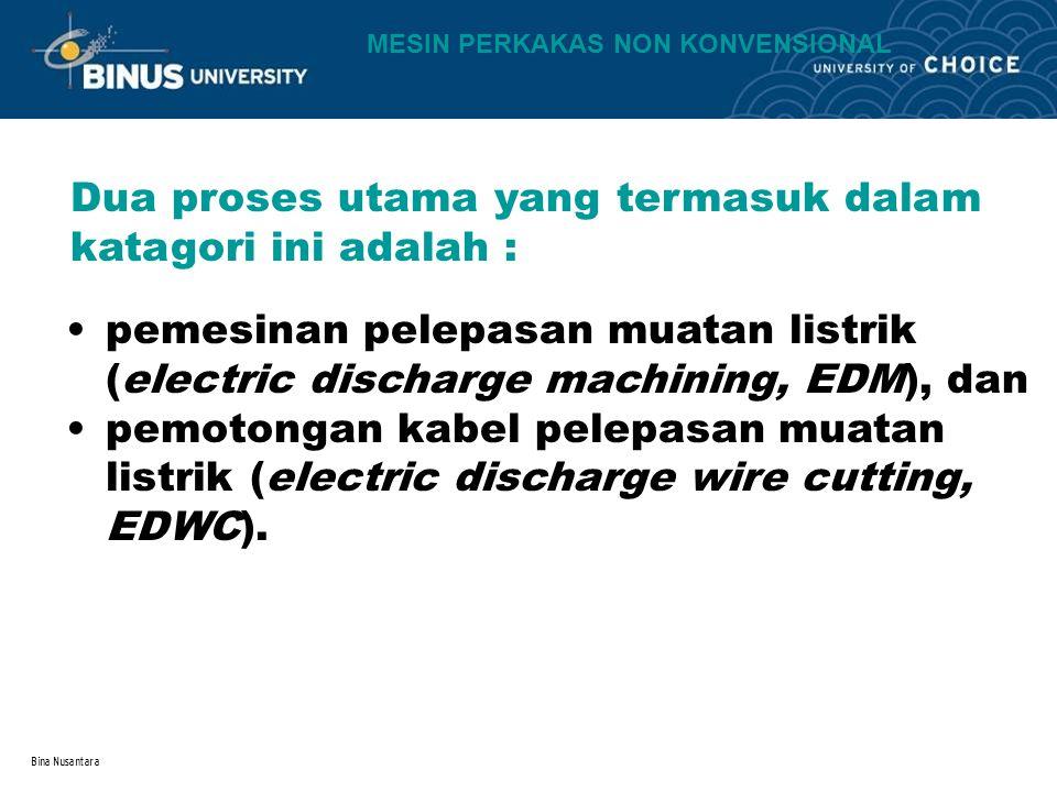 Bina Nusantara Dua proses utama yang termasuk dalam katagori ini adalah : pemesinan pelepasan muatan listrik (electric discharge machining, EDM), dan