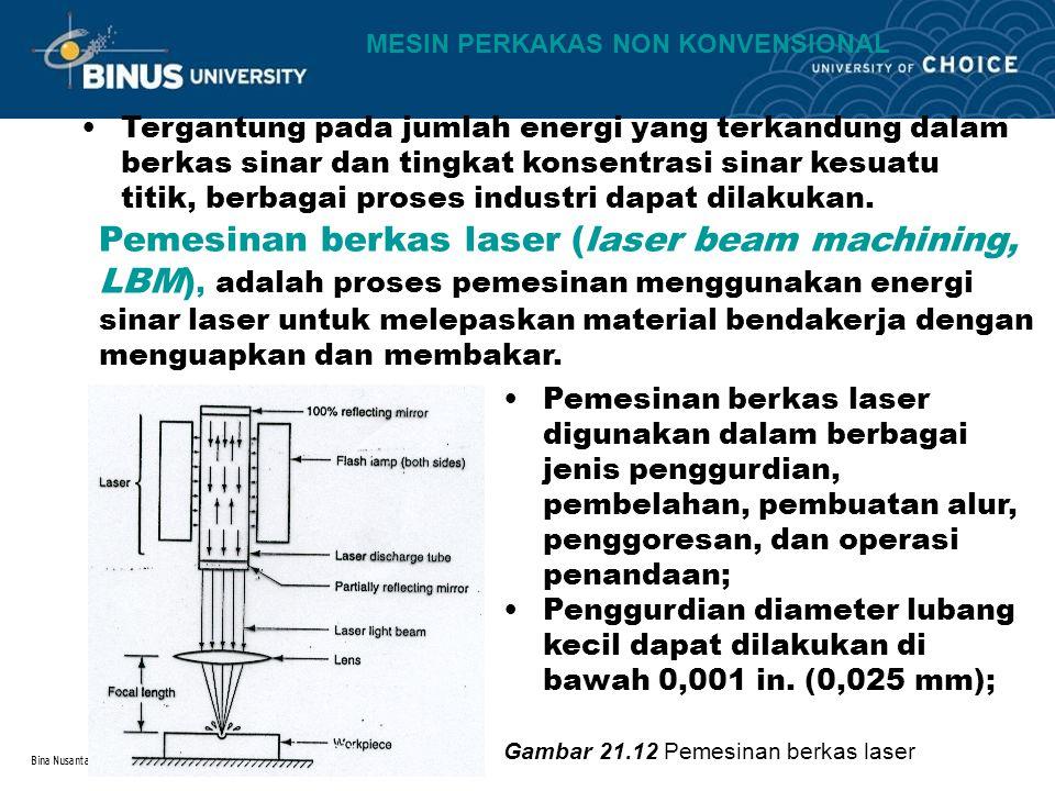 Bina Nusantara Tergantung pada jumlah energi yang terkandung dalam berkas sinar dan tingkat konsentrasi sinar kesuatu titik, berbagai proses industri