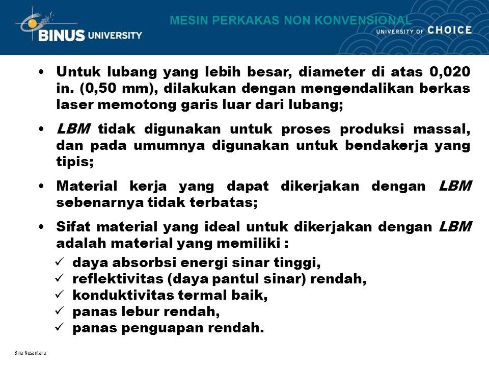 Bina Nusantara Untuk lubang yang lebih besar, diameter di atas 0,020 in. (0,50 mm), dilakukan dengan mengendalikan berkas laser memotong garis luar da