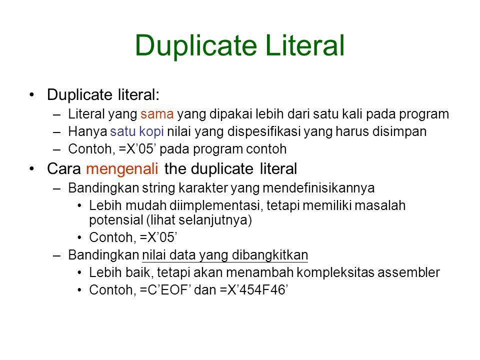 Duplicate Literal Duplicate literal: –Literal yang sama yang dipakai lebih dari satu kali pada program –Hanya satu kopi nilai yang dispesifikasi yang