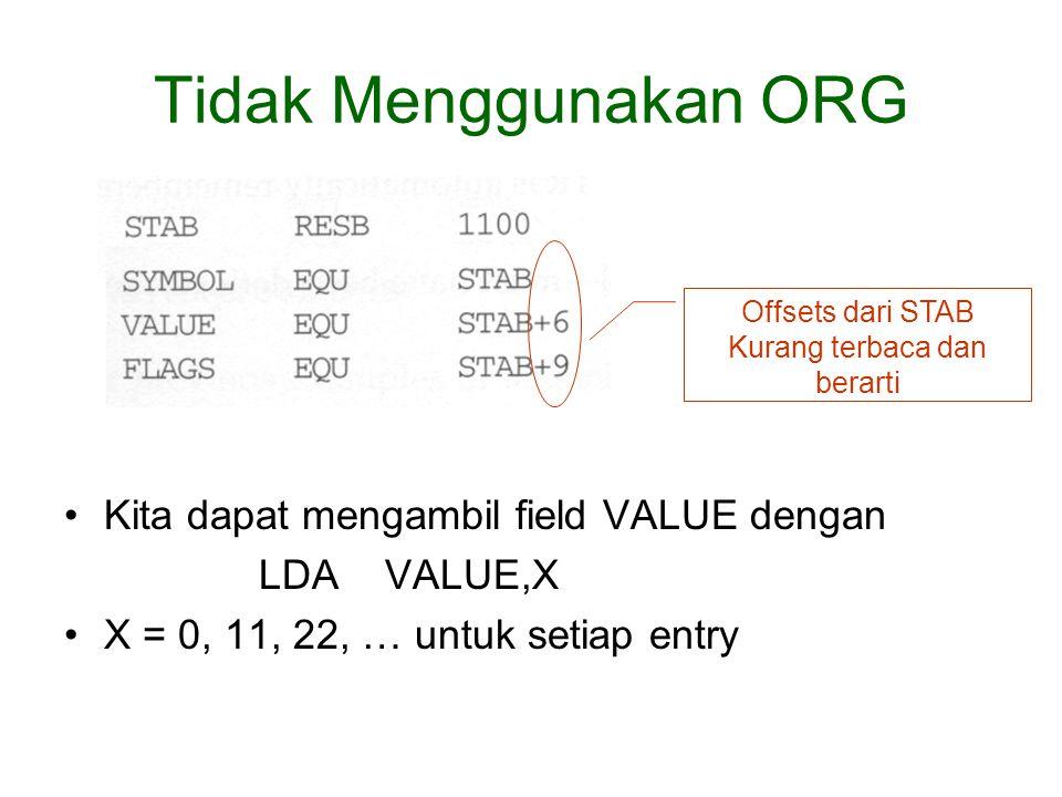 Tidak Menggunakan ORG Kita dapat mengambil field VALUE dengan LDA VALUE,X X = 0, 11, 22, … untuk setiap entry Offsets dari STAB Kurang terbaca dan berarti