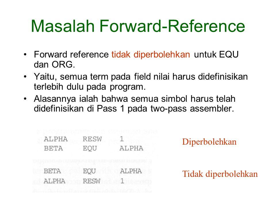 Forward reference tidak diperbolehkan untuk EQU dan ORG.