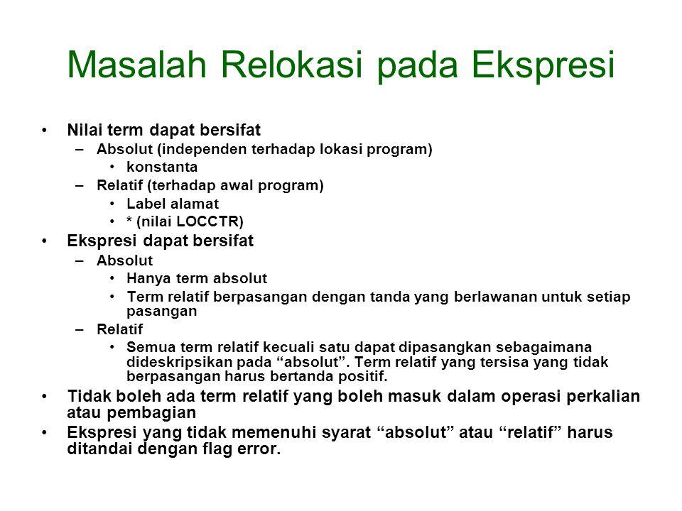 Masalah Relokasi pada Ekspresi Nilai term dapat bersifat –Absolut (independen terhadap lokasi program) konstanta –Relatif (terhadap awal program) Labe
