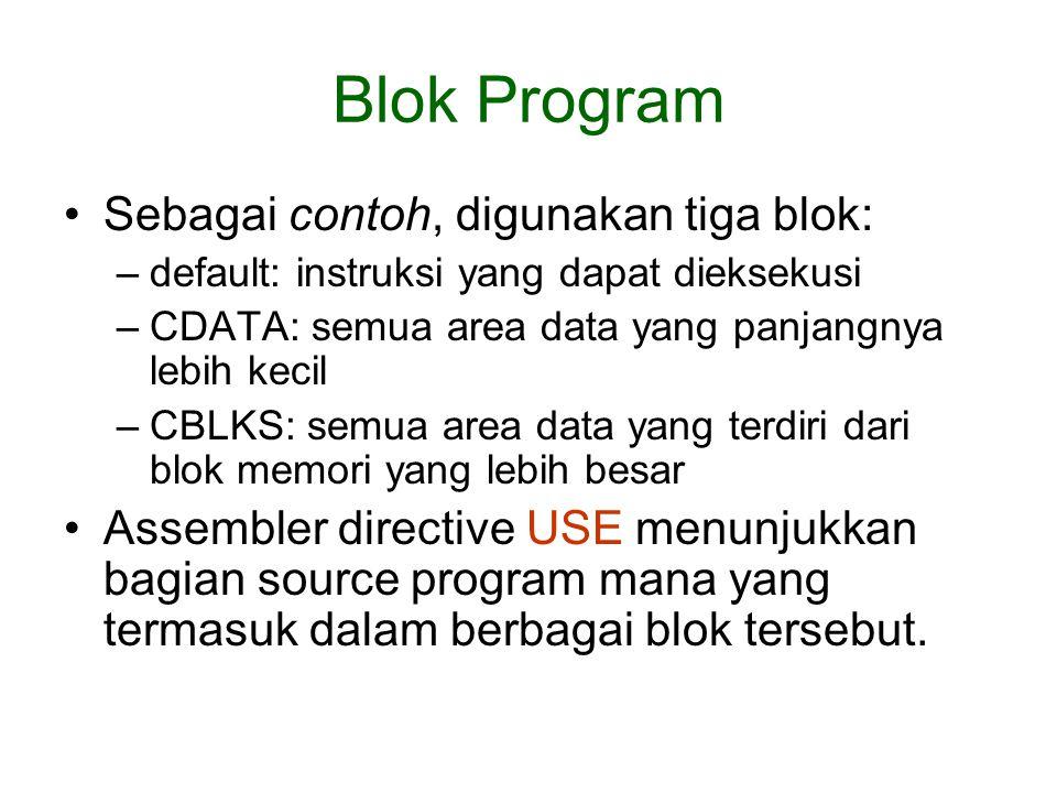 Blok Program Sebagai contoh, digunakan tiga blok: –default: instruksi yang dapat dieksekusi –CDATA: semua area data yang panjangnya lebih kecil –CBLKS: semua area data yang terdiri dari blok memori yang lebih besar Assembler directive USE menunjukkan bagian source program mana yang termasuk dalam berbagai blok tersebut.