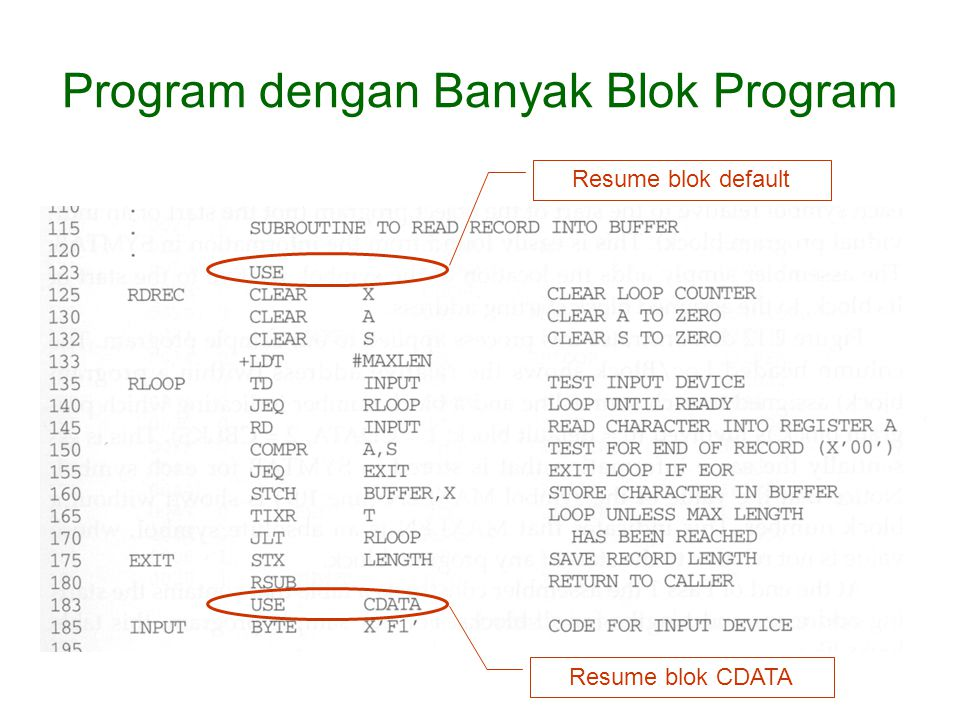 Resume blok default Resume blok CDATA Program dengan Banyak Blok Program