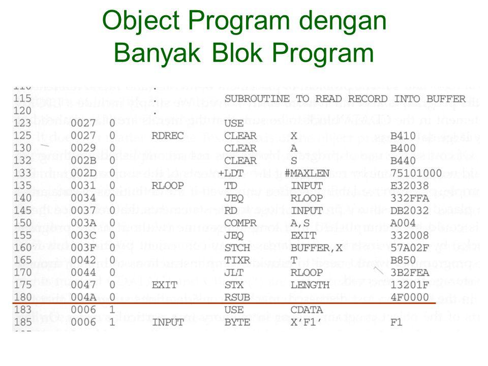 Object Program dengan Banyak Blok Program