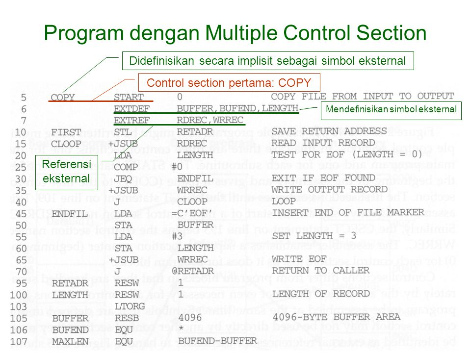 Program dengan Multiple Control Section Control section pertama: COPY Mendefinisikan simbol eksternal Referensi eksternal Didefinisikan secara implisit sebagai simbol eksternal