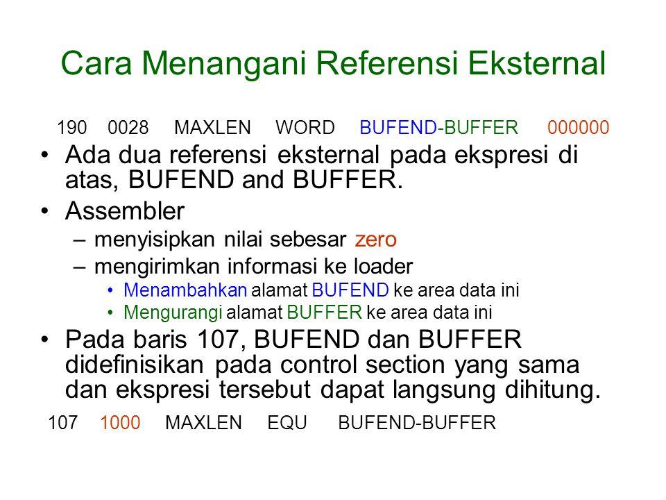 Cara Menangani Referensi Eksternal 190 0028 MAXLEN WORD BUFEND-BUFFER 000000 Ada dua referensi eksternal pada ekspresi di atas, BUFEND and BUFFER.