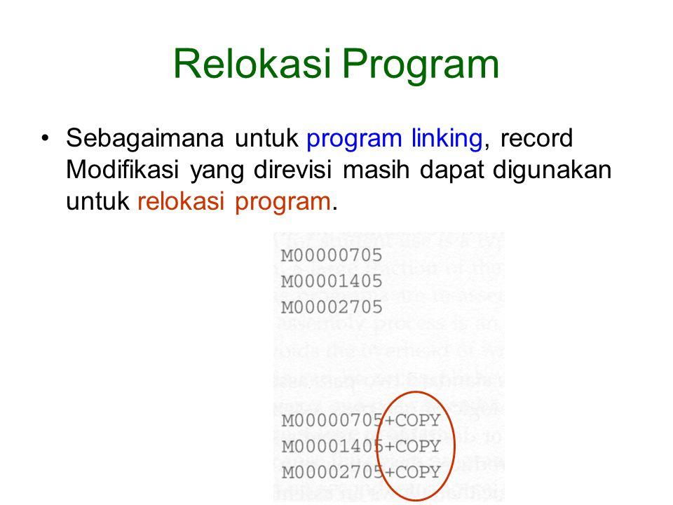 Relokasi Program Sebagaimana untuk program linking, record Modifikasi yang direvisi masih dapat digunakan untuk relokasi program.