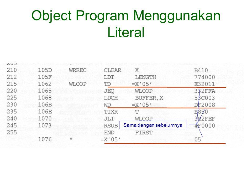 Object Program Menggunakan Literal Sama dengan sebelumnya
